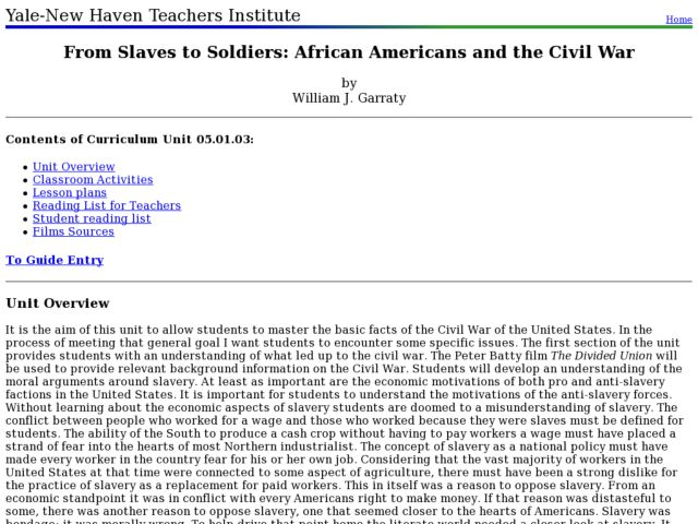 From Slaves to Soldiers: African Americans in the Civil War Lesson Plan