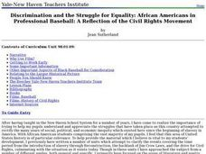 Discrimination and the Struggle for Equality: African Americans in Professional Baseball: A Reflection of the Civil Rights Movement Lesson Plan