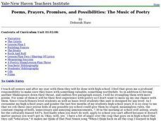 Poems, Prayers, Promises, and Possibilities: The Music of Poetry Lesson Plan