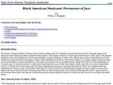 Black American Musicans: Precursors of Jazz Lesson Plan