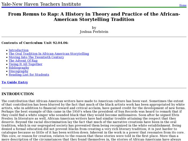 From Remus to Rap: A History in Theory and Practice of the African-American Storytelling Tradition Lesson Plan