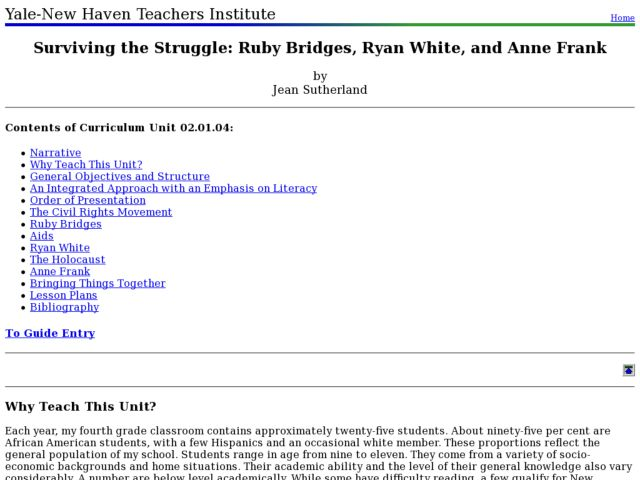 Surviving the Struggle: Ruby Bridges, Ryan White, and Anne Frank Lesson Plan
