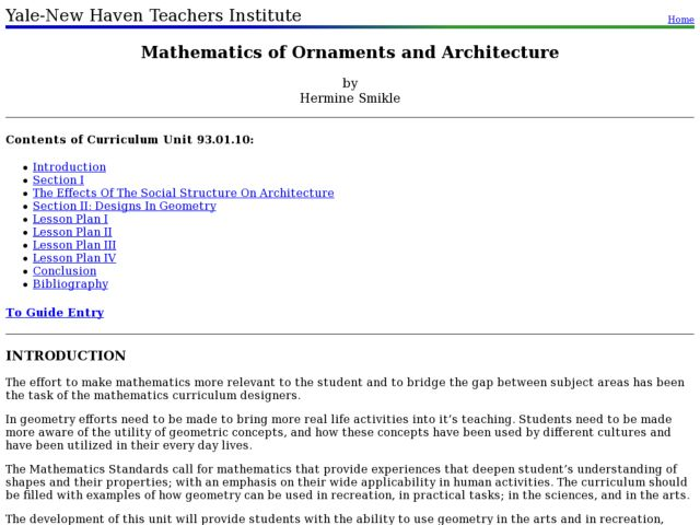 Mathematics of Ornaments and Architecture Lesson Plan