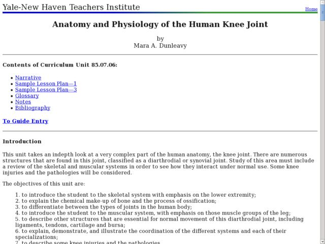 Anatomy and Physiology of the Human Knee Joint Lesson Plan