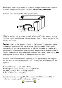Batteries Worksheet