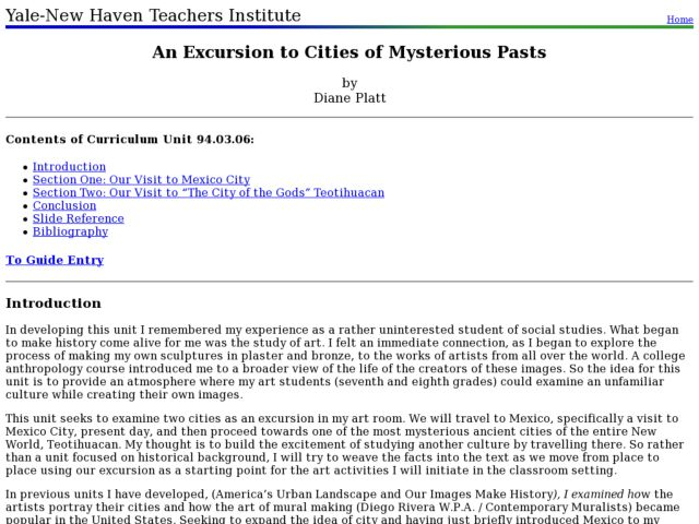 An Excursion to Cities of Mysterious Pasts Lesson Plan