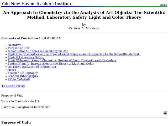 An Approach to Chemistry via the Analysis of Art Objects: The Scientific Method, Laboratory Safety, Light and Color Theory Lesson Plan