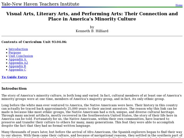 Visual Arts, Literary Arts, and Performing Arts: Their Connection and Place in America's Minority Culture Lesson Plan