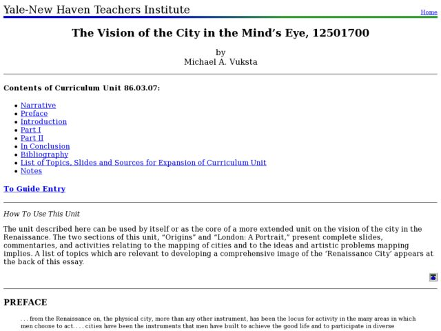 The Vision of the City in the Mind's Eye, 12501700 Lesson Plan