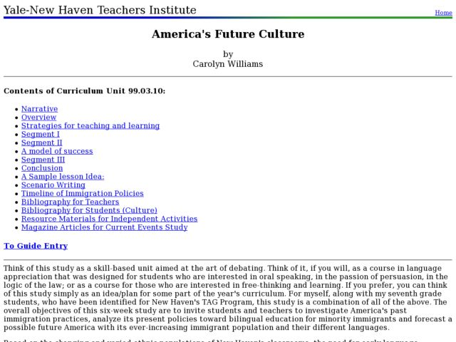 America's Future Culture Lesson Plan