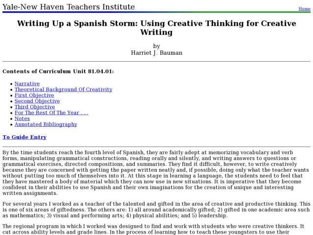 Writing Up a Spanish Storm: Using Creative Thinking for Creative Writing Lesson Plan