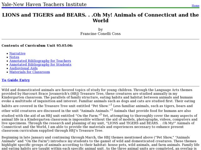 LIONS and TIGERS and BEARS. . .Oh My! Animals of Connecticut and the World Lesson Plan