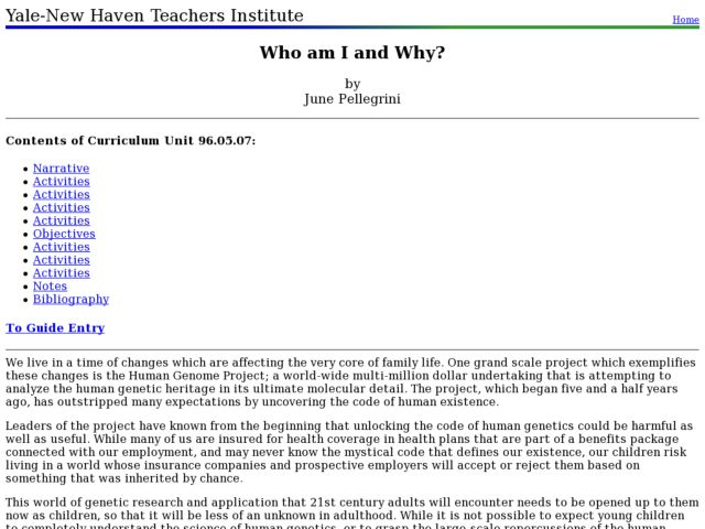Who am I and Why? Lesson Plan