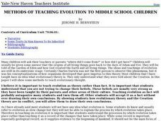 Methods of Teaching Evolution To Middle School Children Lesson Plan