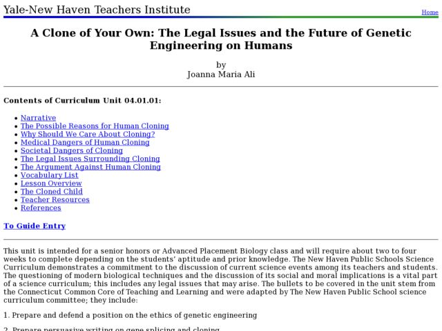 A Clone of Your Own: The Legal Issues and the Future of Genetic Engineering on Humans Lesson Plan