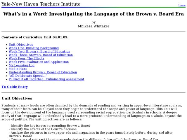 What's in a Word: Investigating the Language of the Brown v. Board Era Lesson Plan