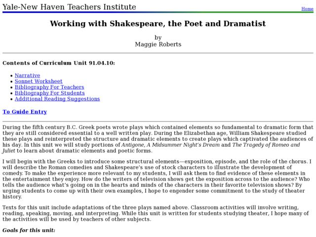 Working with Shakespeare, the Poet and Dramatist Lesson Plan