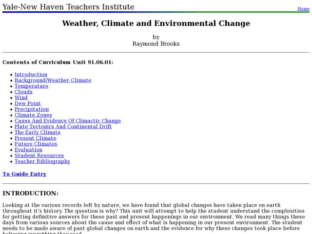 Weather, Climate and Environmental Change Lesson Plan