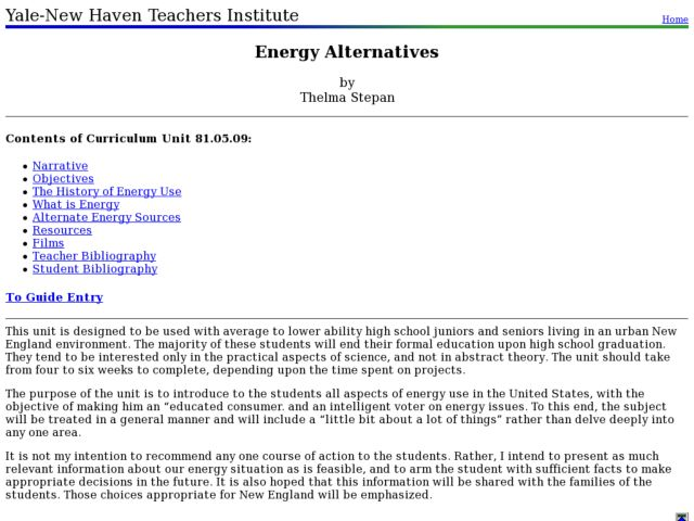 Energy Alternatives Lesson Plan