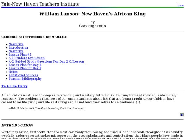 William Lanson: New Haven's African King Lesson Plan