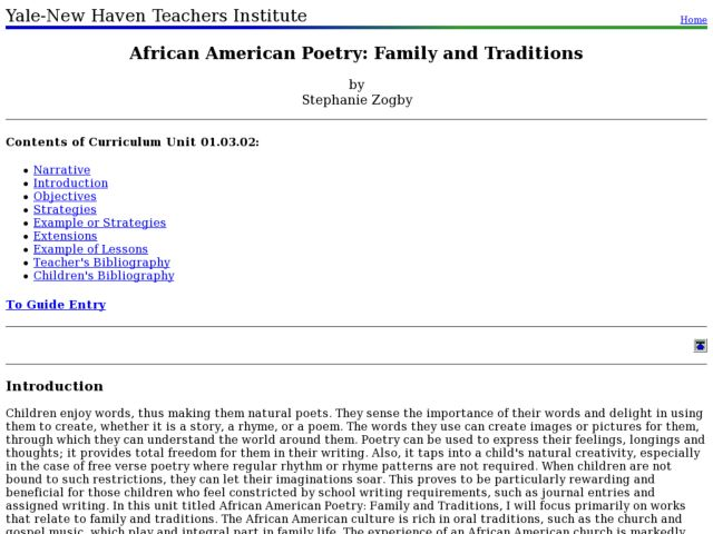 African American Poetry: Family and Traditions Lesson Plan