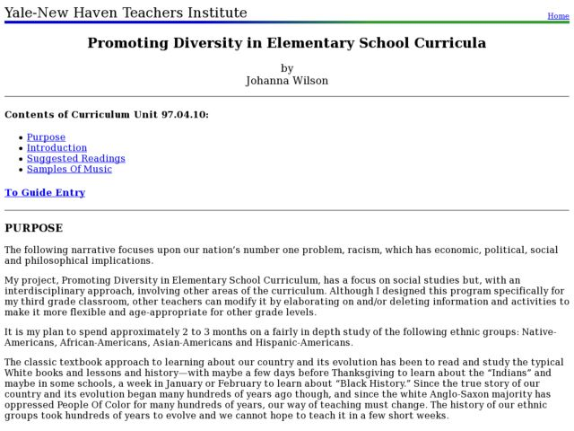 Promoting Diversity in Elementary School Curricula Lesson Plan