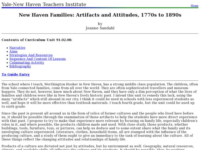 New Haven Families: Artifacts and Attitudes, 1770s to 1890s Lesson Plan
