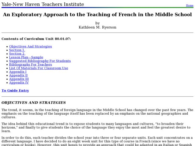 An Exploratory Approach to the Teaching of French in the Middle School Lesson Plan