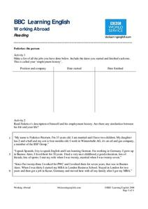 BBC Learning English, Reading Worksheet