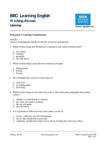 BBC Learning English, Listening Comprehension Worksheet