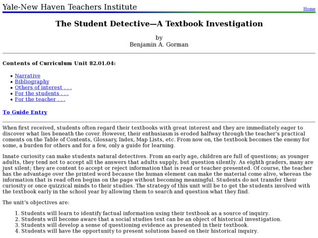 The Student Detective: A Textbook Investigation Lesson Plan