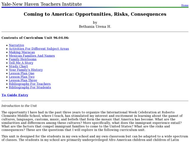 Coming to America: Opportunities, Risks, Consequences Lesson Plan