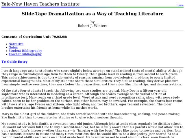 Slide-Tape Dramatization as a Way of Teaching Literature Lesson Plan