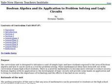 Boolean Algebra and its Application to Problem Solving and Logic Circuits Lesson Plan