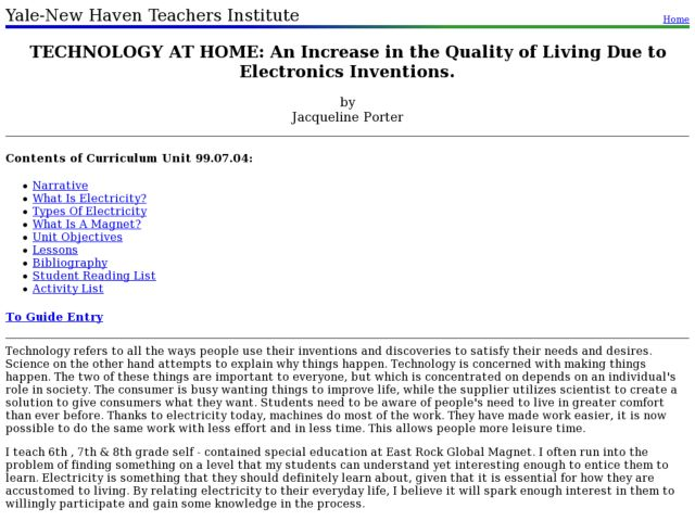 Technology At Home: an Increase in the Quality of Living Due To Electronics Inventions. Lesson Plan