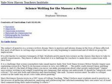 Science Writing for the Masses: a Primer Lesson Plan