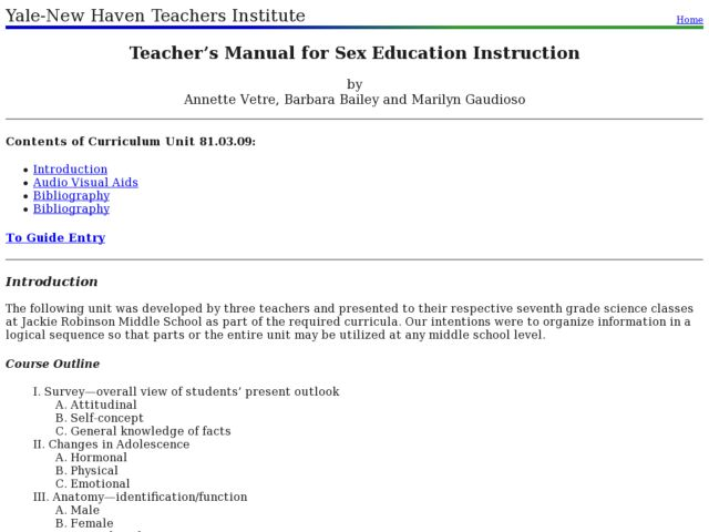 Sex Education Lesson Plan