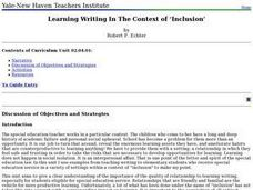 Language Arts: Inclusion and Writing Skills Lesson Plan