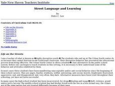 Street Language and Learning Lesson Plan