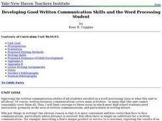 Developing Good Written Communication Skills and the Word Processing Student Lesson Plan