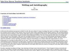 Writing and Autobiography Lesson Plan