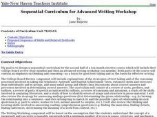 Sequential Curriculum for Advanced Writing Workshop Lesson Plan