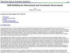 Skill Building for Educational and Vocational Advancement Lesson Plan