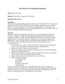 Michigan Web Page Lesson Plan