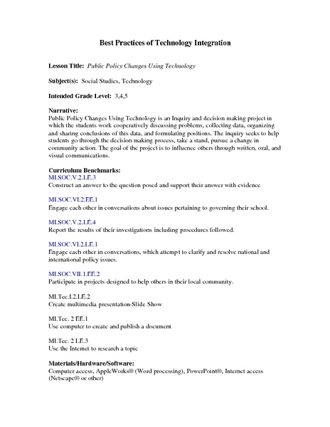 Public Policy Changes Using Technology Lesson Plan