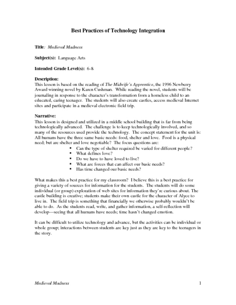 Medieval Madness Lesson Plan