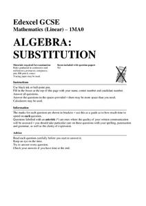algebra substitution assessment for 7th 9th grade lesson planet. Black Bedroom Furniture Sets. Home Design Ideas
