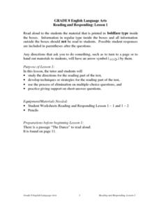 Reading and Responding -- Lesson 1 Lesson Plan