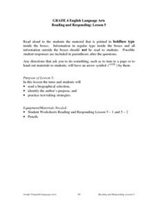Reading and Responding -- Lesson 2 Lesson Plan