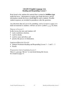 Reading and Responding: Lesson 3 Lesson Plan